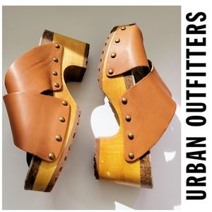Urban Outfitters Ecote Crisscross Studded Tan Leather Platform Clogs